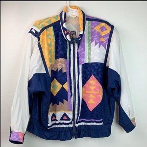 Vintage geometric print windbreaker warm up jacket